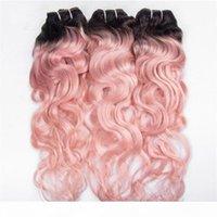 # 1B 핑크 두 톤 Ombre 페루 인간의 머리 뭉치 젖은 및 물결 모양의 3pcs ombre 핑크 버진 헤어 weaves extensions 물 파도 double wefts