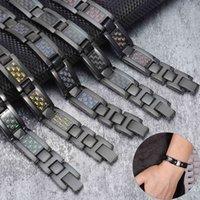 Vinterly الأسود المغناطيسي الفولاذ المقاوم للصدأ الطاقة الجرمانيوم اليد سلسلة ألياف الكربون الألياف الهولوغرام سوار الرجال