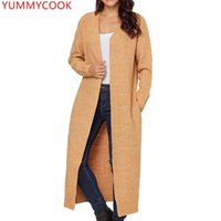 Sweaters Femmes Yummycook Automne Hiver Fashion Cardigan Cardigan Femme Over genou Long Section Solide Couleur Vêtements Pull Manteau A438
