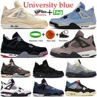 2021 University Blue White X Sail Bred 4s 농구 신발 검은 고양이 불가사리 파리 화재 붉은 네온 남성 여성 운동화 트레이너 상자