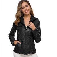 50 # Inverno 2021 vestuário feminina faux macio jaquetas de couro casacos senhora preto pu zipper motocicleta streetwear à prova de vento
