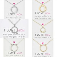 I love mom Circle Pendant Choker Necklaces With Card Gold Silver CZ Chain Necklaces for Women Fashion Jewelry for Mother's Day Gift 819 R2