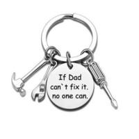 Babalar Günü Paslanmaz Çelik Anahtarlık Hediyeler Aksesuarları Babam Mektup Baskı Çekiç Tornavida Anahtarı Aracı Anahtar Yüzük GG356E4M