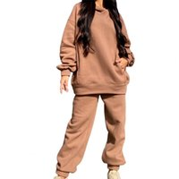 Women's Two Piece Pants Women Hoodies Solid Color Pockets Outfit Long Sleeve Hooded Sweatshirt Elastic Waist Sweatpants Set Streetwear