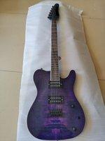 Custom Factory Wholesale Venta directa Top TL Guitarra eléctrica, Maple de llama púrpura