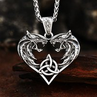 Pendant Necklaces BEIER Double Wolves Heads Animal Heart Amulet Viking Necklace For Man Guardian Choker Jewelry BP8-596