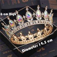 Роскошные новобрачные науки Tiaras и Crowns Crystal Royal Queen King Crown Crown Wedding Hair Jewelry Cource Diadem Breide Head Accessorents