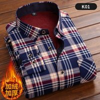 Men's Casual Shirts Winter Warm Shirt Plus Velvet Thickening Fashion Print Plaid Long Sleeve Brand Dress SizeL-5XL