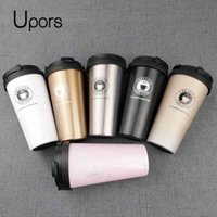UPORS 500ML Coffee Mug Creative 304 Stainless Steel Travel Mug Double Wall Vacuum Insulated Tumbler Wide Mouth Tea Cup with Lid T200104