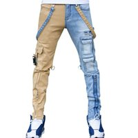 Męskie dżinsy High Street Proste Kombinezony Męskie Oversized Hip-Hop Yellow Blue Denim Spodnie Moda Mężczyzna Casual Jean