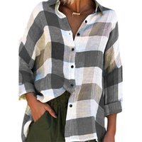 Women Blouse Shirts Plaid 2021 Button Loose For Clothing Causal Top Ladies Long Sleeve Blousa Tops Women's Blouses &