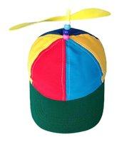 Kids Baseball Cap Bamboo-copter Bucket Hat Boy And Girl Sun Hats Windstick Sunshade Assorted Colors Rainbow Sports Caps ZZC6312