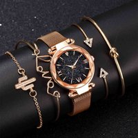 Designer Luxury Brand Watches Xury Rose Gold Starry Sky Dial es Women Ladies Crystal Armband Quartz Wrist 5 st Set Relogio Feminino