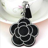 Keychains Valentine's Day Flower Keychain Tassel Leather Crystal Trinket Key Chain For Holder Purse Car Bag Pendant Handbag Ring