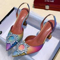 Dress Shoes 2021 Luxury Patent Leather Women Pumps Sun Style Rhinestone High Heels Pointed Toe None-slip Wedding Party Size 42