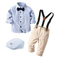 Children Clothes Casual Boys Set with Hat Striped Shirt Tie Pants Belt 5 Pcs Baby Kids Long-Sleeves Dress