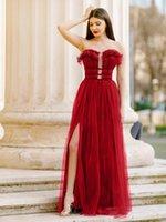 Floor Length Tulle Long Prom Dresses Side Split A Line Bridesmaid Dress Sweetheart Sexy Women Vestidos De Soiree