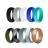 Wedding Rings 10pcs set 8mm Hypoallergenic Flexible Food Grade FDA Silicone Ring Army Band Rubber Engagement For Men Women