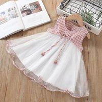 Girl's Dresses Cotton Baby Girls Plaid Dress Kids Clothes Sleeveless Mesh Patchwork Princess Party A-line Casual Fashion Vest Children