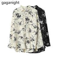 Gaganight Chiffon Женская цветочная блузка с длинным рукавом Свободная повседневная рубашка Office Lady Chic Plus Размер Blusas 2021 Блузки Dropshipping
