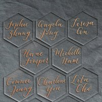 Greeting Cards 20pcs Clear Acrylic Hexagon Blank Place Laser Cut Sheet Plain Tiles Wedding Decoration For Table Numbers Guest Name