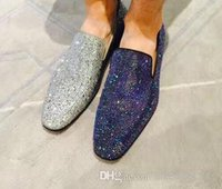 Brand Red Bottom Loafers Luxury Party Wedding Shoes Designer Suede With Rhinestone Strass Shoes Dress Shoes For Mens Slip On Flats