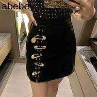 دبابيس المرقعة التنانير النسائية غير متناظرة عالية الخصر بو الجلود عارضة مصغرة تنورة للملابس الأزياء النسائية 210324