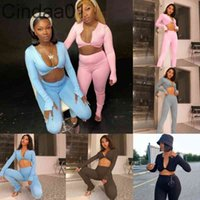 Women Tracksuits Two Piece Set Designer Long Sleeve V-neck Low Cut Slim T Shirt Trousers Outfits Ladies Casual Yoga Sports Suit Clothing