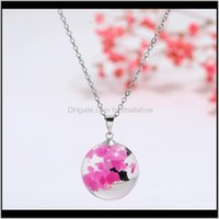& Pendants Jewelryly Womens Necklace Led Luminous Transparent Pendant With 3D Sky Charm Crystal Resin Ball Party Wedding Jewelry M99 Necklac