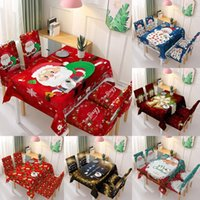 Table Cloth 2021 Fashion Santa Claus Tablecloth   Chair Cover Waterproof Rectangle Holiday Party Dust-proof Christmas Decoration 140*210cm