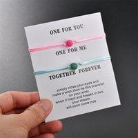 매트 용암 돌 자연석 구슬 팔찌 빨간색 문자열 땋는 커플 남자를위한 팔찌 쥬얼리 카드 159 Q2