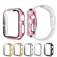 Montres de diamant étui pour la montre Apple Couvre 38mm 42mm 40mm 44mm Bande Température Glass Screen Protector Cover Série IWatch Série 5 4 3 2