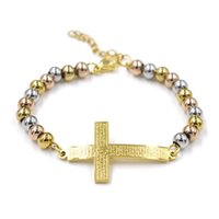 Молитвенные бусины очаровательные браслеты из нержавеющей стали розарий библейские перекрестные браслеты унисекс религия Pulseira ссылка, цепь