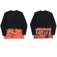 망 셔츠 스웨터 까마귀 티셔츠 빅 V 화염 뼈대 여성 힙합 풀오버 긴 소매 Splicing 유럽 크기 S-XL Streetwear 봄과 가을
