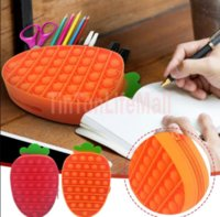 Cartoon Carrot Simple Dimple Pencil Case Girls Boys Kawaii Pen Box Office School Study Storage Bag Stationery Pencilcase Fidget Se7