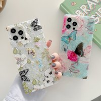 Square Flower Rose Butterfly Phone Cases Soft TPU for IPhone 11 12 Pro Max 13 X XR Xs 8 7 Plus 13PRO Silicone Shockproof Shell Cover