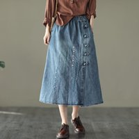 Skirts Autumn Retro Ethnic Style Button Embroidered Denim Skirt Elastic Waist Mid-length Female A-line Casual Jeans Saias Y124