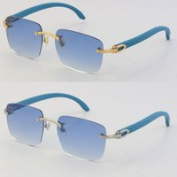 خشبي مع ج نظارات الديكور 18 كيلو الذهب جديد الأزرق الأخشاب بدون شفة النظارات للجنسين ضوء الزينة ضوء عدسة القيادة الأزياء اكسسوارات النظارات الحجم: 54-18-140mm