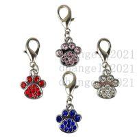 Fashion Paw Tags Collar Rhinestone Pendant Cute Charms with Hooks Dog Pet Decoration Accessories ZA5428