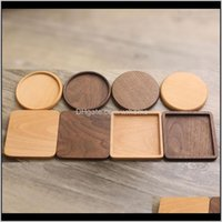 Pads Table Decoration Aessories Kitchen, Dining Bar Home & Gardenwooden Walnut And Beech Wood Black 4 Styles Bowl Pad Coffee Tea Cup Mats Tea
