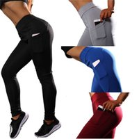 여성의 높은 허리 요가 바지 측면 전화 포켓이있는 배가 통제 운동 운동 스트레치 스포츠 레깅스