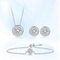 Ballet de gema Moissanite Diamond Set 925 Pendientes de plata esterlina Pendientes Collar para mujer Joyería de boda nupcial