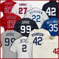 Jeunesse de jeunesse 99 Aaron Juge Baseball Jersey 2 Derek Jeter 22 Clayton Kershaw 35 Cody Bellinger 27 Mike Truite 17 Shawhi Otani Jerseys Custom