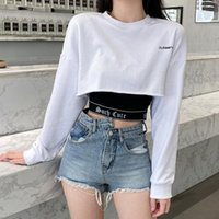 Women's T-Shirt 2021 Gothic Camis Dark Such Cute Black Letter Printed Hip Hop White Loose Women Long Sleeve Crop T-shirts Fashion Two Piece