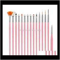 Nail Art Brushs Dekoration Pinsel Set Werkzeuge 15 stücke Weiße Griff Malerei Stift Für falsche Nagelspitzen UV Nagelgel Polierbürsten Y5rhv R9ufz