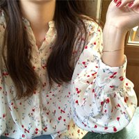 Women's Flowers Print Shirts 35% Cotton Long Sleeve Female Tops 2021 Spring Summer Loose Casual Office Ladies Shirt Plus Size XL Blouses &