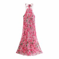 PUWD Sweet Woman Pink Flower Halter Long Dress Summer Casual Ladies Backless Beach Dresses Female Chic Print Tank Dresses 210524