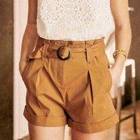 Shorts femininos shorts vintage femme cintura cintura bolsos marrom casual casual elegante elegante escritório chique senhora mulheres nug