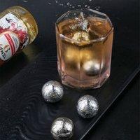 304 Edelstahl wiederverwendbare Fußballform Eiswürfel Kugeln Kühler Whisky Rotwein Drink Kühler