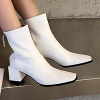 Boots Plain Concise Ankle Slip On Winter Shoes Women Block Heel Short Booties Square Toe Female Office Mid Calf Bootees